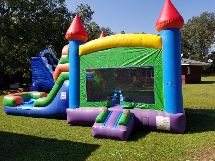 Rainbow Castle Bounce House / Single Slide Combo